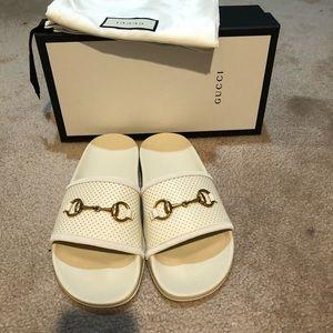 Gucci Ivory Horsebit Slides